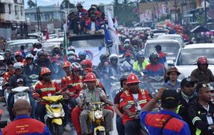 Workers and contractors from PT Freeport travel in a convoy during a rally commemorating May Day in Timika, Papua province, Indonesia. Antara Foto/Wahyu Putro A/via REUTERS
