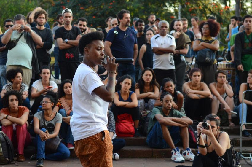 São Paulo - Ato contra as ações da prefeitura e do governo do estado na região da cracolândia na Praça Júlio Prestes, região central (Rovena Rosa/Agência Brasil)