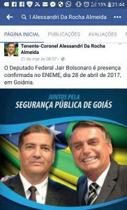 Tenente-coronel Alessandri com o deputado Jair Bolsonaro em foto no Facebook