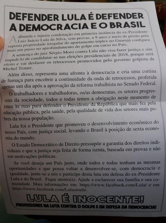 Panfleto distribuído em convocação ao ato de Lula