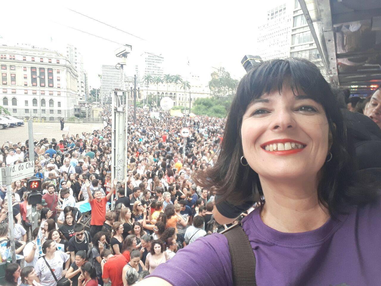 Professores municipais, em greve contra a reforma da Previdencia.