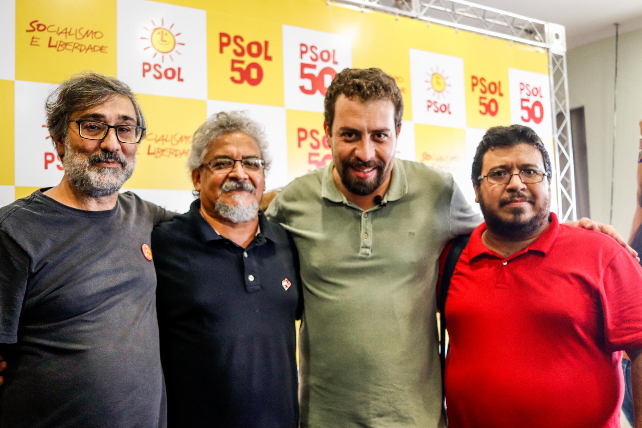 Guilherme Boulos, com dirigentes do PCB. Foto: divulgação PSOL Nacional