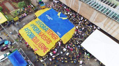 Ato em Brasília em 2017. Foto Sintect-DF