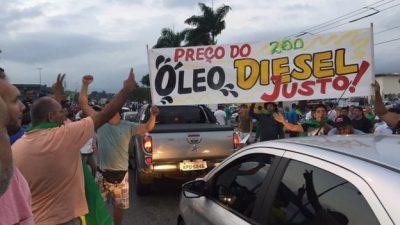 Manifestação em frente à Reduc, em Duque de Caxias (RJ)