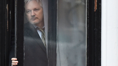 Julian Assange, fundador do Wikileaks, na embaixada do Equador em Londres. Foto arquivo NYT / 2016