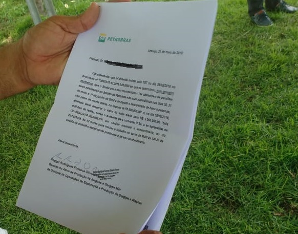 Carta enviada aos trabalhadores. (nome do destinatário está oculto, para evitar represálias)