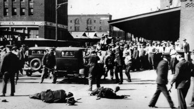 Repressão à greve dos caminhoneiros, em 1934. Coleção Edward Levinson