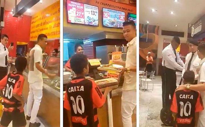 Segurança tenta impedir que menino almoce no shopping. Reprodução vídeo