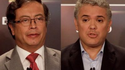 Os dois candidatos colombianos: Gustavo Petro e Iván Duque.
