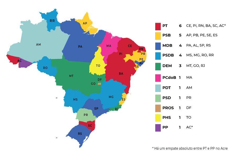 Mapa com partidos favoritos ao governo estadual