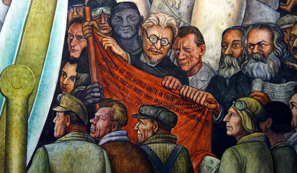 """Detalhe do mural """"El hombre en el cruce de caminos"""", de 1934, de Diego Rivera"""
