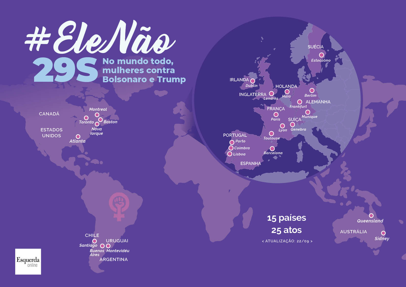 Mapa com os 25 atos