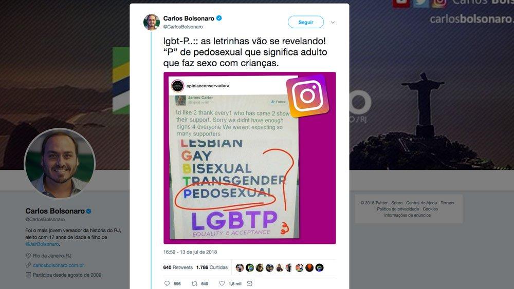 Reprodução do poster falso pelo twitter do vereador Carlos Bolsonaro, com a sigla LGBTP