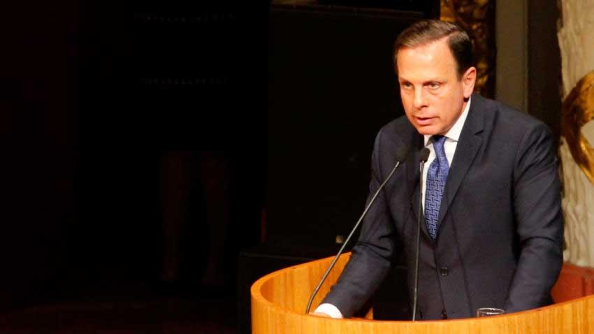 Doria discursa durante a posse, em 01 de janeiro de 2017