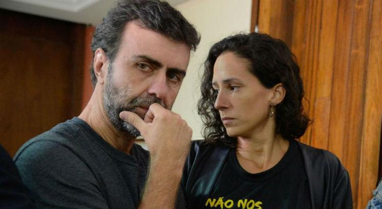 Marcelo Freixo e Monica, viúva de Marielle