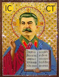 Imagem de Stalin retratado como santo.
