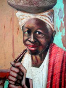 """""""Tia Marcelina"""" - Quadro de Mestre Zumba. Tia Marcelina, com mais de 80 anos de idade, foi assassinada com golpes de sabre, socos e pontapés durante o Quebra de Xangô."""