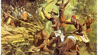 Pintura. Cinco homens quilombolas, com escudos, espadas e um rifle, enfrentam uma tropa na mata