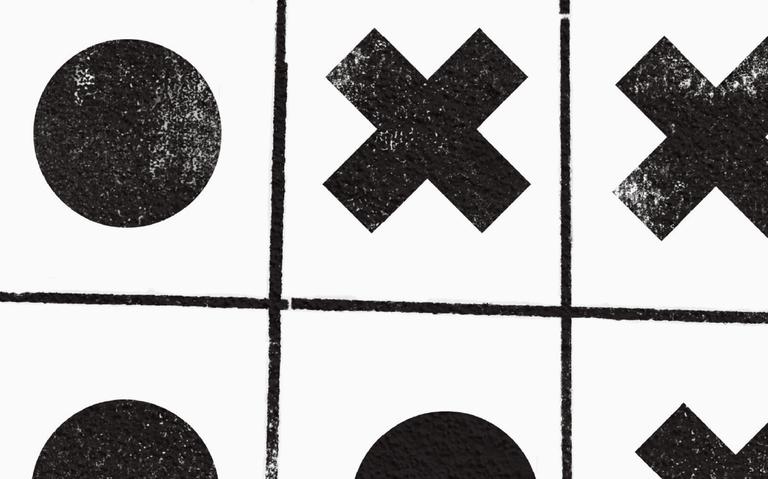 detalhe com símbolos na cor preta com um fundo branco. um x, um círculo, um quadrado..
