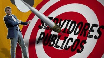 Imagem mostra um alvo, com os círculos vermelhos. Nele está escrito; servidores públicos. Ao lado, Bolsonaro, apontando para o dardo, no centro do alvo, e sorrindo.