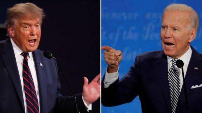 Imagem está dividida. Do lado esquerdo, Trump. à direita, Biden.