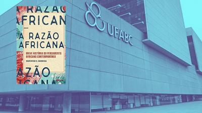 Imagem da fachada da UFABC, com a capa do livro razão africana em detalhe