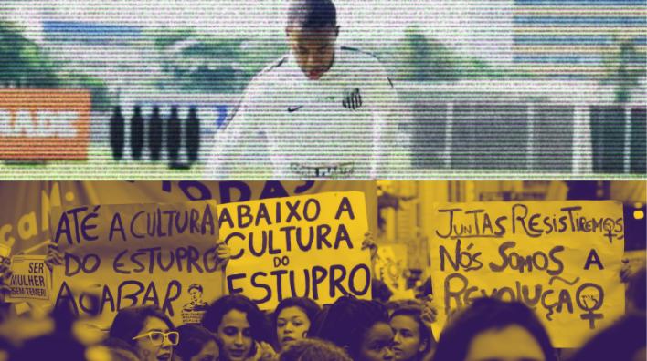 Imagem contem 2 fotos horizontais. Na parte de cima, o jogador Robinho, com a camisa do Santos. Na debaixo, uma manifestação, com o carta Abaixo a cultura do estupro
