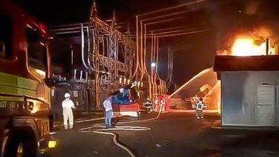 imagem do incêndio em uma subestação