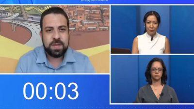 reprodução de tela da sabatina UOL-Folha com Boulos