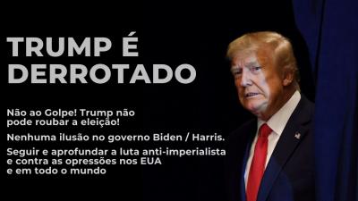 Foto do Trump, com um cortina. Ele usa terno e gravata. Ao lado, o título e o subtítulo deste texto