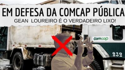 Em defesa da COMCAP pública! Gean Loureiro é o verdadeiro lixo! (Na imagem, um caminhão da comcap, ao fundo. em primeiro plano, a imagem do prefeito, com um X vermelho.