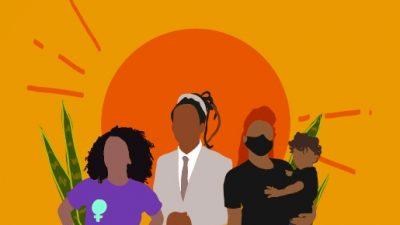 Ilustração. Em um fundo amarelo, com um círculo laranja representando o sol, a silhueta de três pessoas, parlamentares do PSOL: Paula Nunes, Matheus Gomes e Iza Lourença. Iza está com a filha no colo.