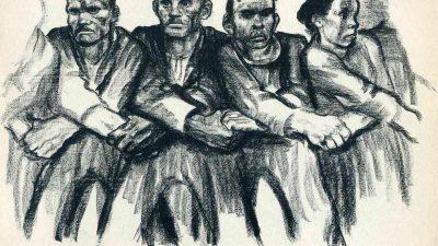 Ilustração a lápis. homens e mulheres cruza os braços entre si, formando uma corrente, e se dão as mãos