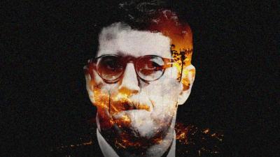 Montagem, com cenas de queimadas sobre foto de Ricardo Salles, em um fundo preto.